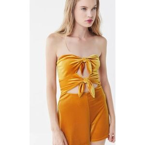 Urban Outfitters Maddie Velvet Front Tie Romper